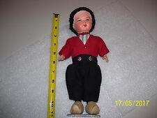 RARE OLD VINTAGE WONDERFUL 1930'S COMPOSITION DUTCH BOY DOLL & STAND, FREE SHIP