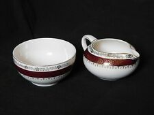 Crown Ducal AGR Chatsworth Tea Set Burgundy Band & Gold Trim 1940s