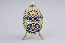 Blue Faberge Egg Trinket Box & music Handmade by Keren Kopal Austrian  Crystals