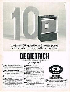 PUBLICITE ADVERTISING  1967   DE DIETRICH  poele à mazout
