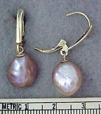 Genuine Lustrous Pink Baroque Culture Pearl 14K Yellow Gold Lever Drop Earrings