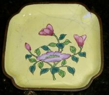 "antique CHINESE CLOISONNE Pin DISH 3 1/2"" SQUARE"