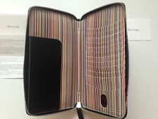 Paul Smith Signature Striped Travel Wallet - Black Leather -