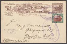 Nicaragua Ganzsache ab Managua nach Berlin 1913