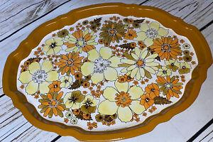 Floral Baret Ware England Mid-Century Tin Metal Serving Tray Large Yellow Orange