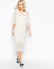 ASOS Weekday Ladies Cream Fine Knitted Long Sleeve Jumper Dress Size S Brand New