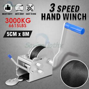 Hand Winch 3000KG/6615LBS 3 Speed 8M Dyneema Webbing Strap Boat Car Marine 4WD