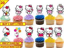 40 HELLO KITTY Cup Cake Fairy Wafer Rice Toppers Birthday Party Edible STAND UP