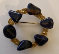 Vintage Costume Jewellery Sodalite Crystal Wreath Garland Gold Tone Brooch