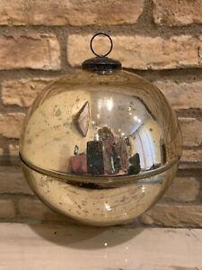 Pottery Barn Ornament Candle Pot 3 Wick Gold Large Christmas Decor Mercury Glass