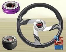 JDM Tunning Racing Steering Wheel+Purple Release+Hub for 96-00 Civic EK EM1