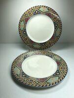 "Christopher Stuart La Brea Dinner Plates SET 2 Southwest Optima Aztec  10 3/4"""