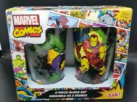 Zak Designs set of 2 Pint Glass Tumblers Marvel Comics Hulk Thor Iron Man 16 oz.