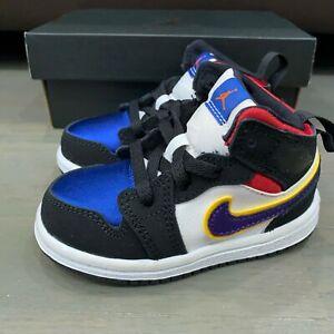 Nike Air Jordan 1 Mid SE (TD) Lakers Red White Multi-color BQ6933-005 Size 4C