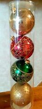 Glitter Heart Scroll Bulb Christmas Tree Ornaments Shatter Proof Christmas X