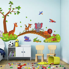 jungle wild animal tree bridge lion birds flowers wall stickers for home deco EV