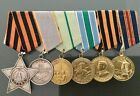 """LOT of 6 ROW CCCP ORDER of Glory""""MEDALS """"Military Merit"""" """"Defense of Leningrad"""""""