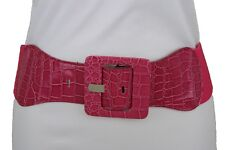Sexy Women Pink Faux Leather Elastic Waistband Fashion Belt Square Buckle XS S M