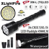 45000LM XLightFire 18x XML T6 LED Flashlight 5-Modes Super Bright Torch Lamp