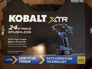 """KOBALT 24V MAX BRUSHLESS  1/2"""" HIGH TORQUE IMPACT WRENCH KIT 1518745 - NEW!!!"""