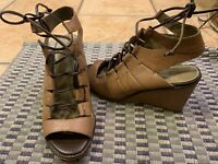 SCHULER & SONS ANTHROPOLOGIE TAUPE BROWN LEATHER CUTOUT LACES 6 M WEDGE HEELS LN