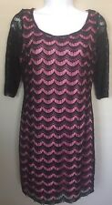 Candies womens medium Stardust Black Tie Pink Lace Overlay Sleeves 3/4 Sexy Back