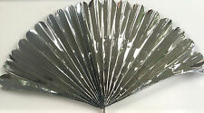 "23"" SILVER MYLAR PRODUCTION FAN Sleeve Appearing Magic Trick Prop Springs Open!"