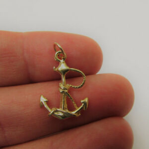 Gold Anchor Charm Goldplate on Sterling Silver Pendant Beach Jewelry Nautical