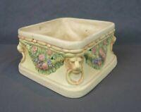 VTG Art Deco Weller Roma Lion Head Fruit Cream Ware Square Pottery Planter Box