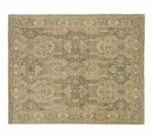 Old Handmade Traditional Green Parsian Oriental Style Wool Area Rug & Carpet