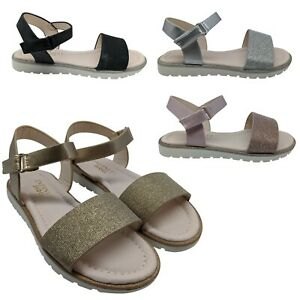 GIRLS CHILDRENS KIDS BABY GLITTER SANDALS FLATS ANKLE STRAP SUMMER SHOES SIZE