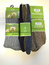 Set of 3 Pairs High Quality Mens Wool Blend Socks - Assorted Colours UK 6-11