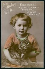 Child Girl Tabby Cat Kitten Green Eyes original vintage old 1920s photo postcard