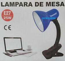 FLEXO PINZA AZUL E27 LED 9w 2700-4000-6500k Lampara escritorio, cama, mesa