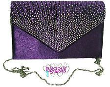 Señoras púrpura envolvente Estilo Caja Bolsa Diamante noche PROM Razas Bridal
