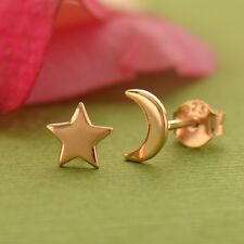 18K Rose Gold Moon and Star Post Earrings Celestial Night Sky Mismatched Set