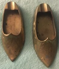 2 Vintage Old Brass Miniature Metal Shoes Ashtray India cigarette smoking Unique
