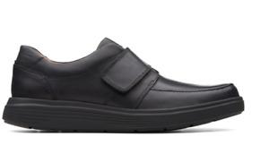 NEW  Clarks Unstructured Un Abode Strap Black Leather Shoes - US 11 / UK 10