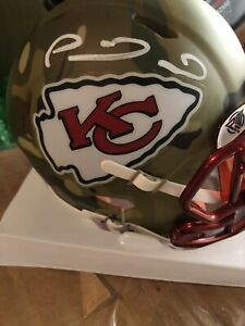 PATRICK MAHOMES SIGNED AUTO KANSAS CITY CHIEFS CAMO SPEED MINI HELMET JSA COA