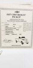 DANBURY MINT 1937 CHEVROLET PICK-UP TRUCK 1:24 SCALE BORDEAUX MAROON TITLE ONLY