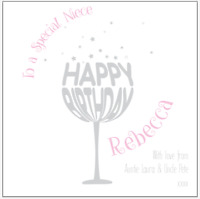 Personalised Gin glass birthday card FRIEND SISTER NIECE DAUGHTER