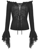 Dark In Love Womens Gothic Blouse Top Black Floral Lace Up Steampunk Vampire VTG