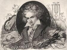 Beethoven. Germany, antique print, 1845