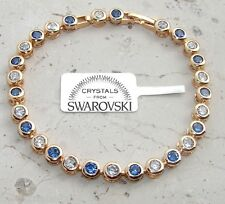 Bracciale tennis pl oro 24 k ,cristalli bianco e BLU,Uomo Donna,braccialetto EV