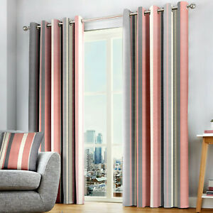 Whitworth Stripe Eyelet Lined Curtains Blush and Grey 100% Cotton