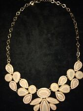 Fashion Necklace Gold Tone Chain & Gem Bib