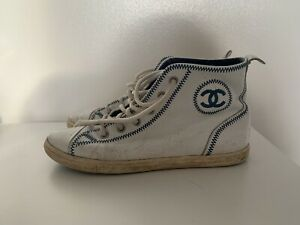 Chanel High Top Leather Sneakers Womens 37.5