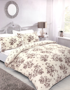 Beige Cream Floral King Size Buttoned Duvet Cover Two Pillowcases Bedding Set