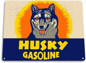 Husky Gasoline Gas Oil Auto Shop Garage Gas Oil Metal Decor Sign