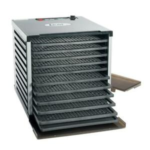 Electric Food Dehydrator 10-Tray Programmable Temperature Controls Timer Black